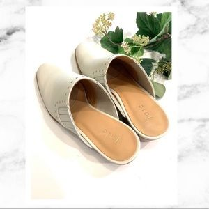 Joie Fayla White Leather Mules / Heels